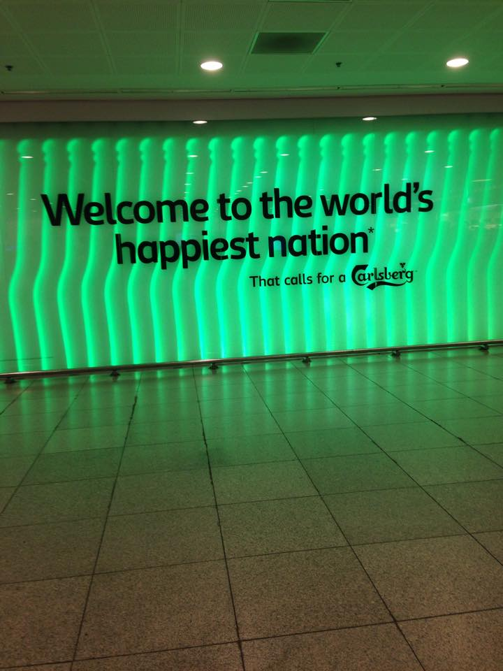 Welcome board at Copenhagen Kastrup Airport, Denmark 2015