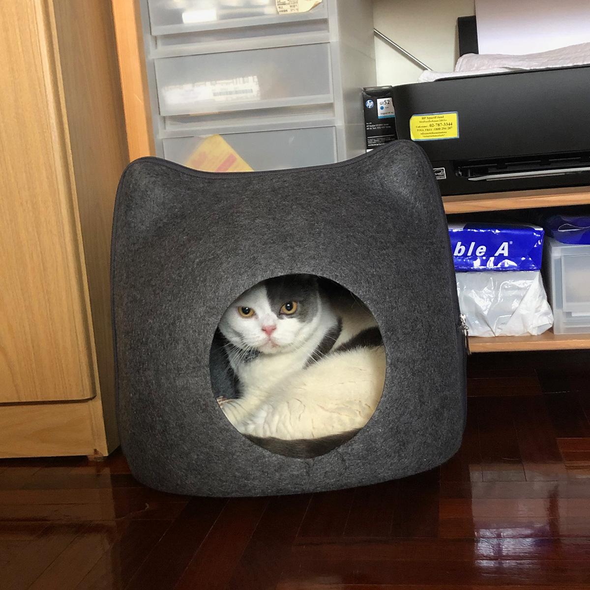 ที่นอนแมวแบบถ้ำแมว